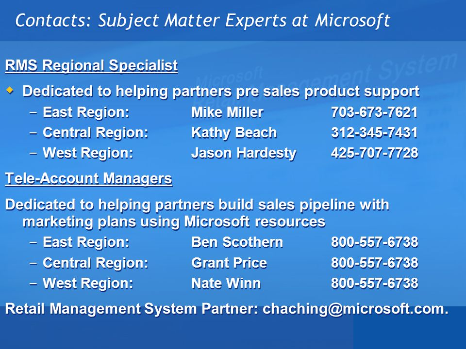 Contacts: Subject Matter Experts at Microsoft
