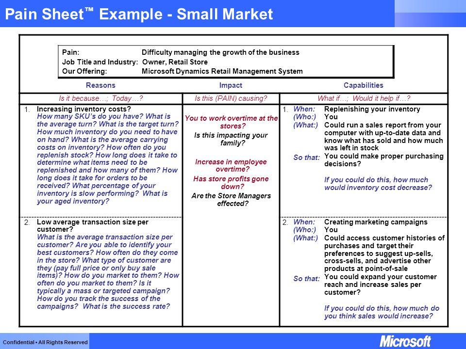 Pain Sheet™ Example - Small Market