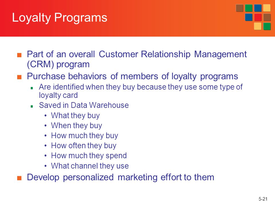 Loyalty Programs Part of an overall Customer Relationship Management (CRM) program. Purchase behaviors of members of loyalty programs.