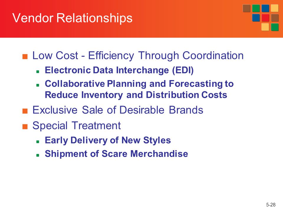 Vendor Relationships Low Cost - Efficiency Through Coordination