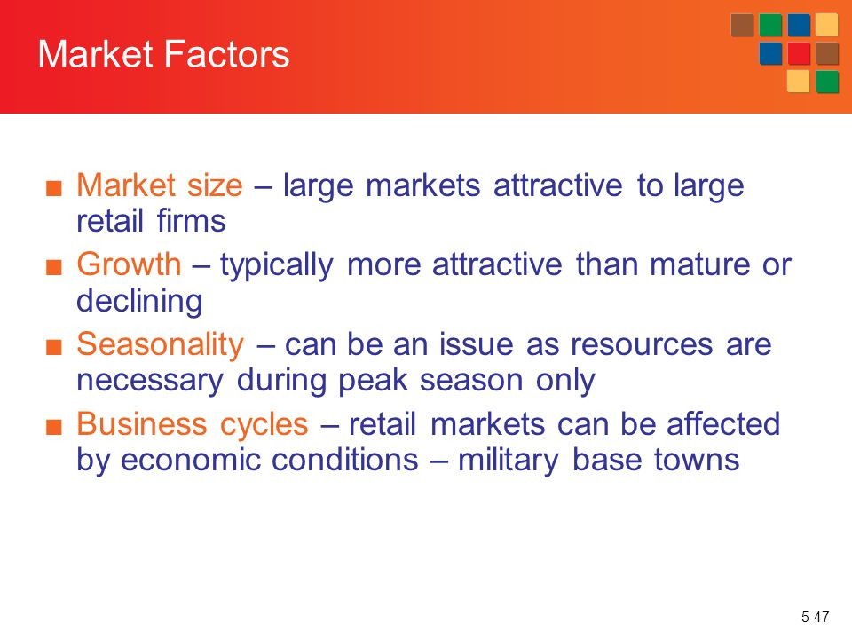 Market Factors Market size – large markets attractive to large retail firms. Growth – typically more attractive than mature or declining.