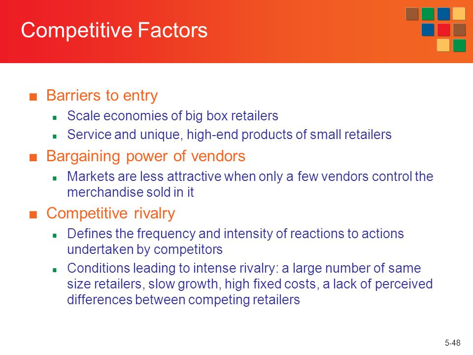 Competitive Factors Barriers to entry Bargaining power of vendors