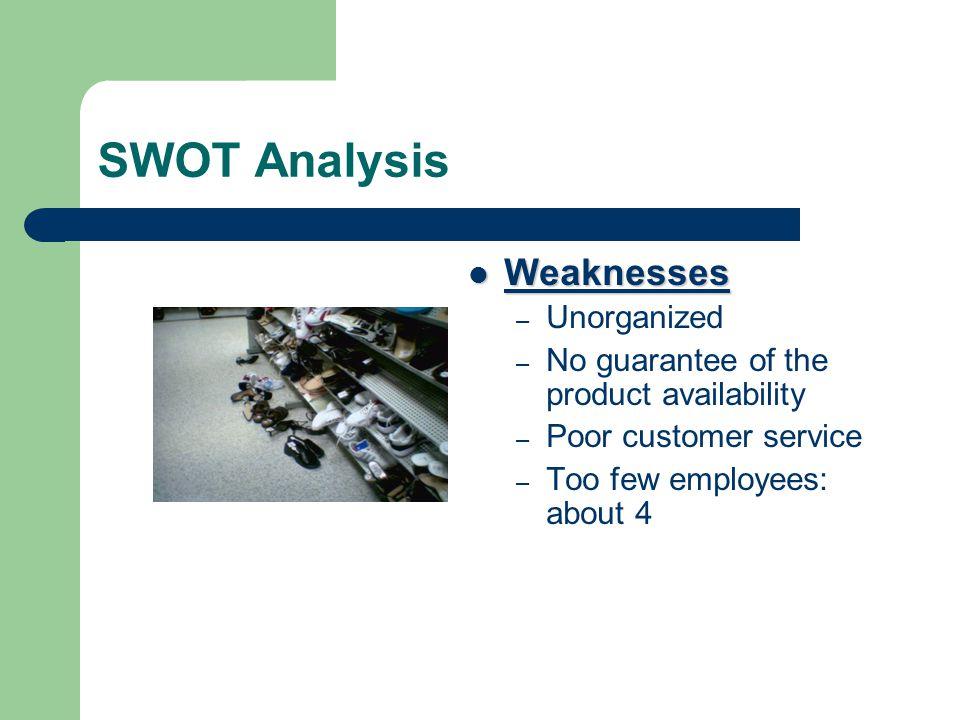 SWOT Analysis Weaknesses Unorganized