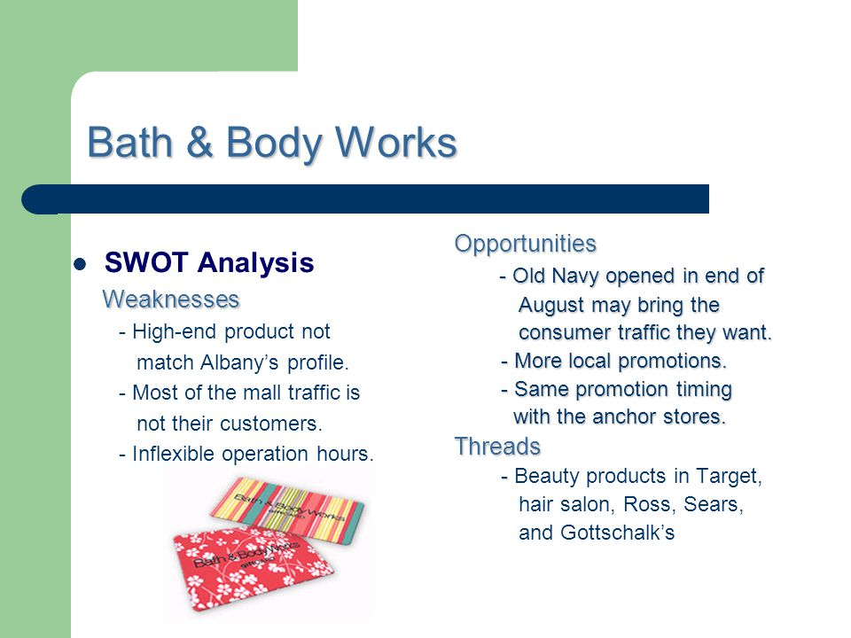 Bath & Body Works SWOT Analysis Opportunities Weaknesses