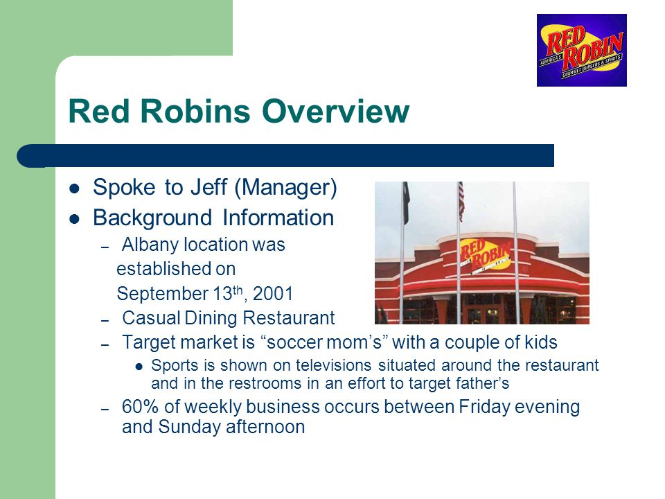 Red Robins Overview Spoke to Jeff (Manager) Background Information