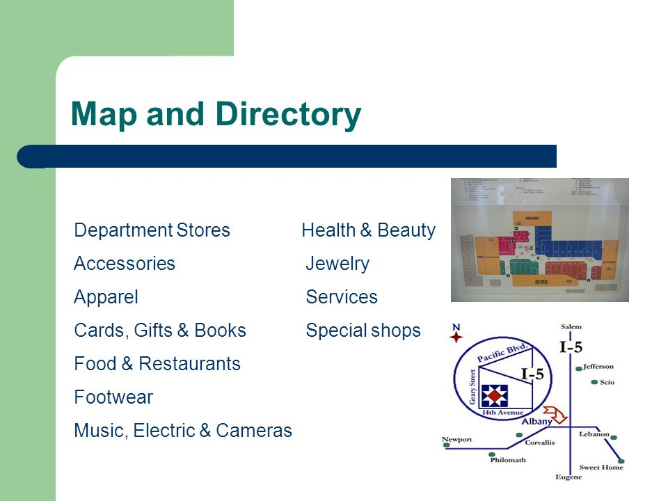 Map and Directory Department Stores Health & Beauty