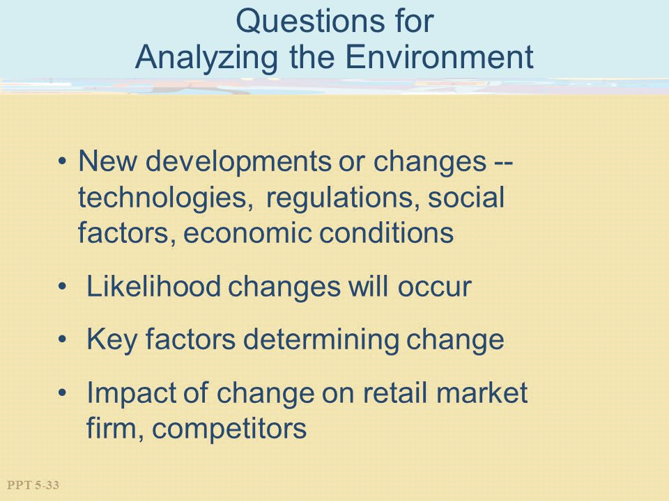 Questions for Analyzing the Environment