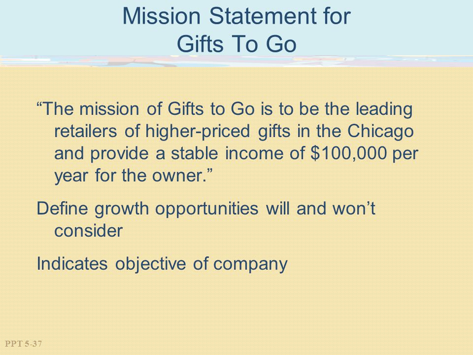Mission Statement for Gifts To Go
