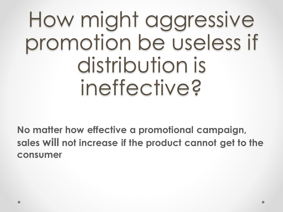 How might aggressive promotion be useless if distribution is ineffective