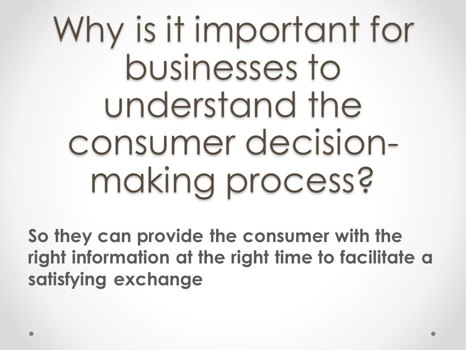 Why is it important for businesses to understand the consumer decision-making process
