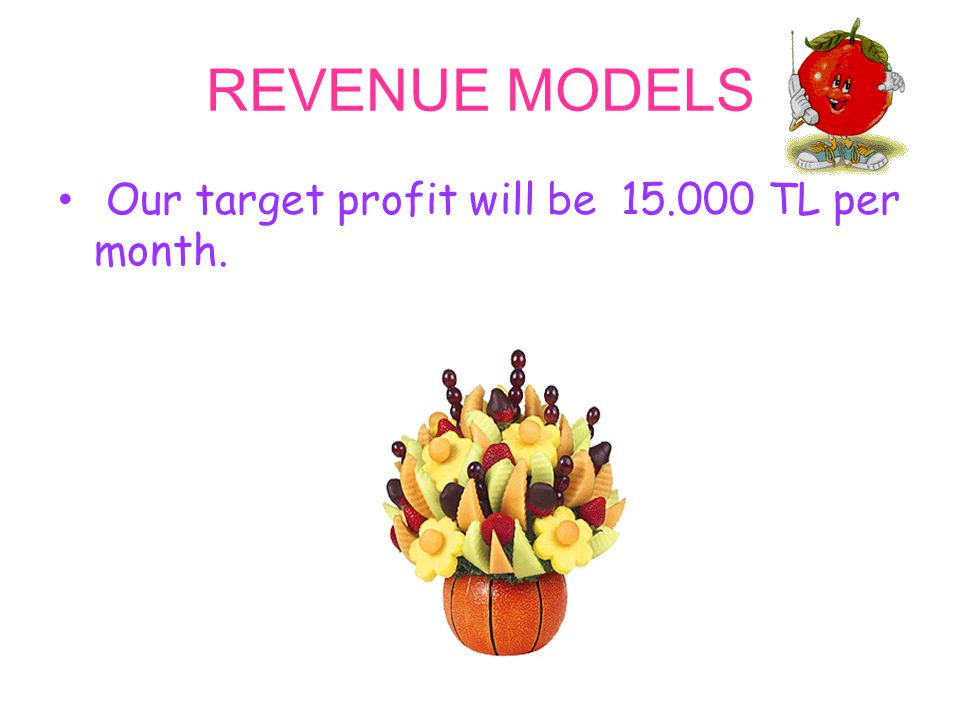 REVENUE MODELS Our target profit will be 15.000 TL per month.