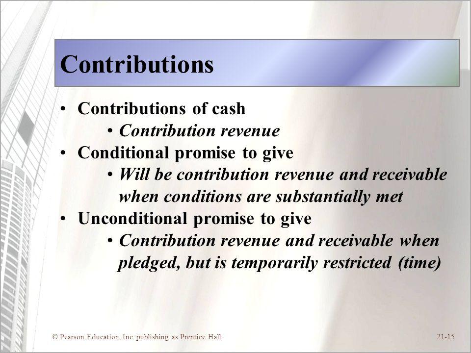 Contributions Contributions of cash Contribution revenue