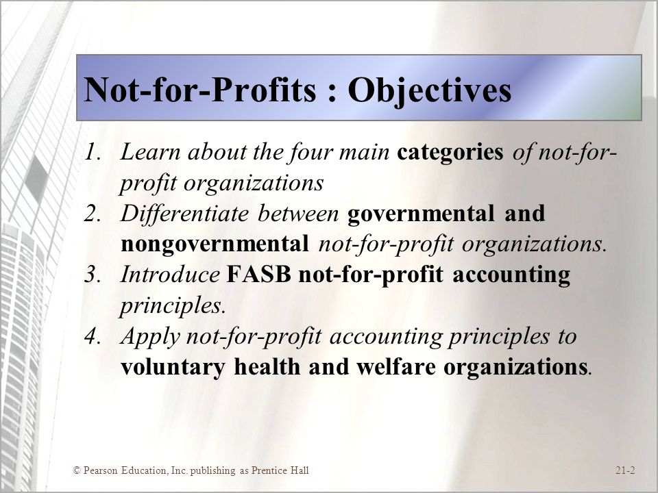 Not-for-Profits : Objectives