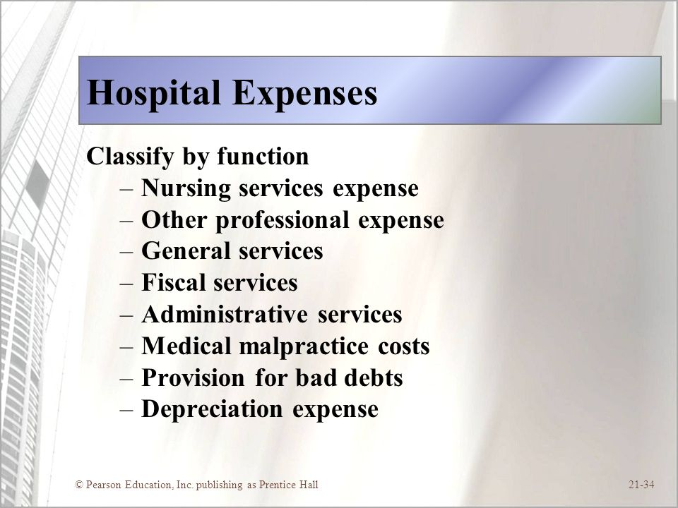 Hospital Expenses Classify by function Nursing services expense