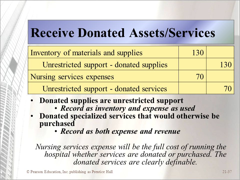 Receive Donated Assets/Services