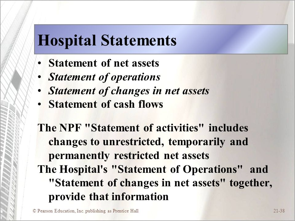 Hospital Statements Statement of net assets Statement of operations