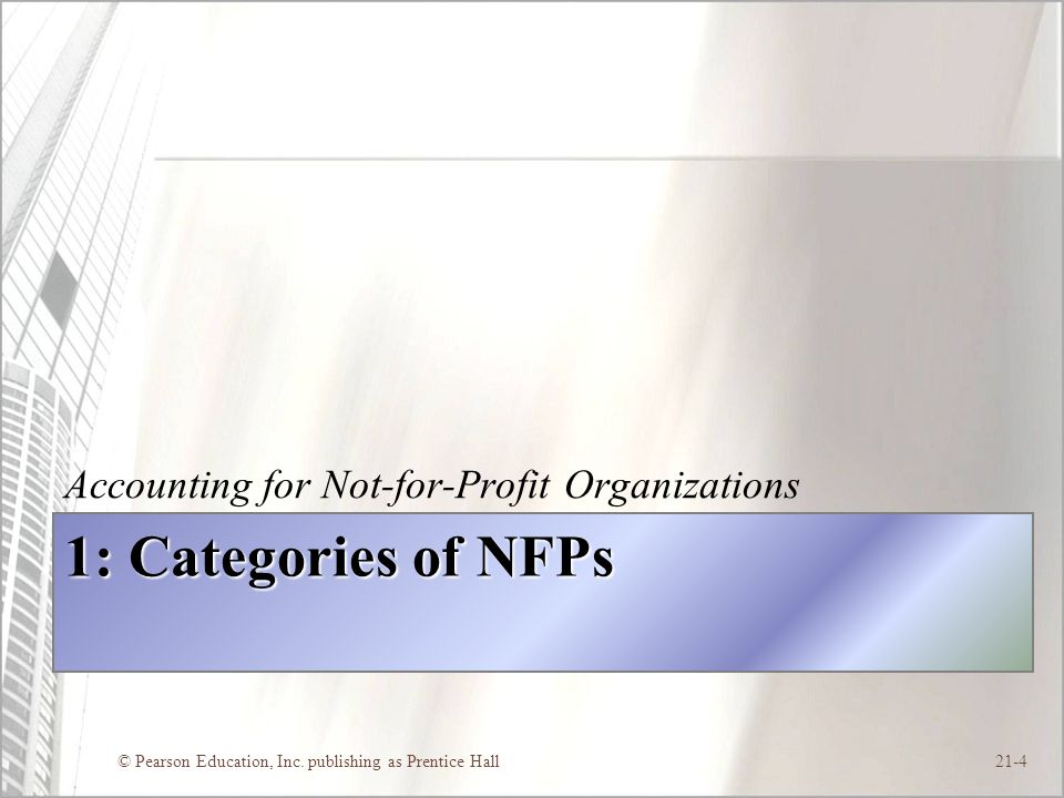 1: Categories of NFPs Accounting for Not-for-Profit Organizations