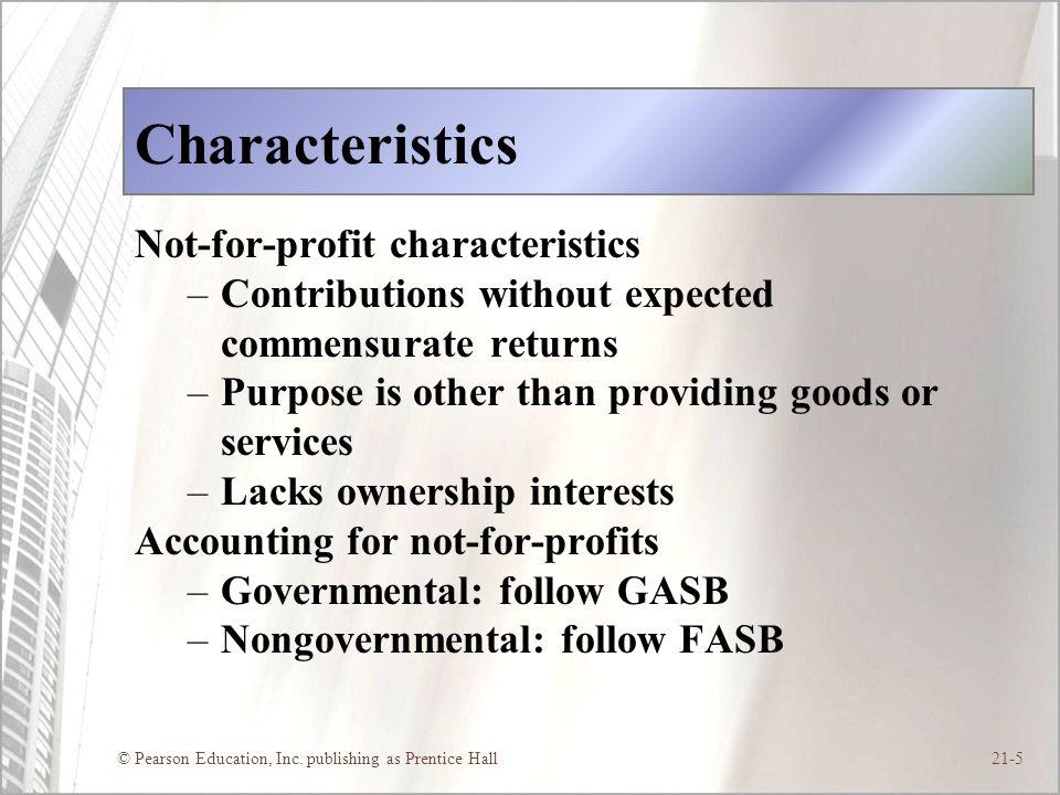 Characteristics Not-for-profit characteristics