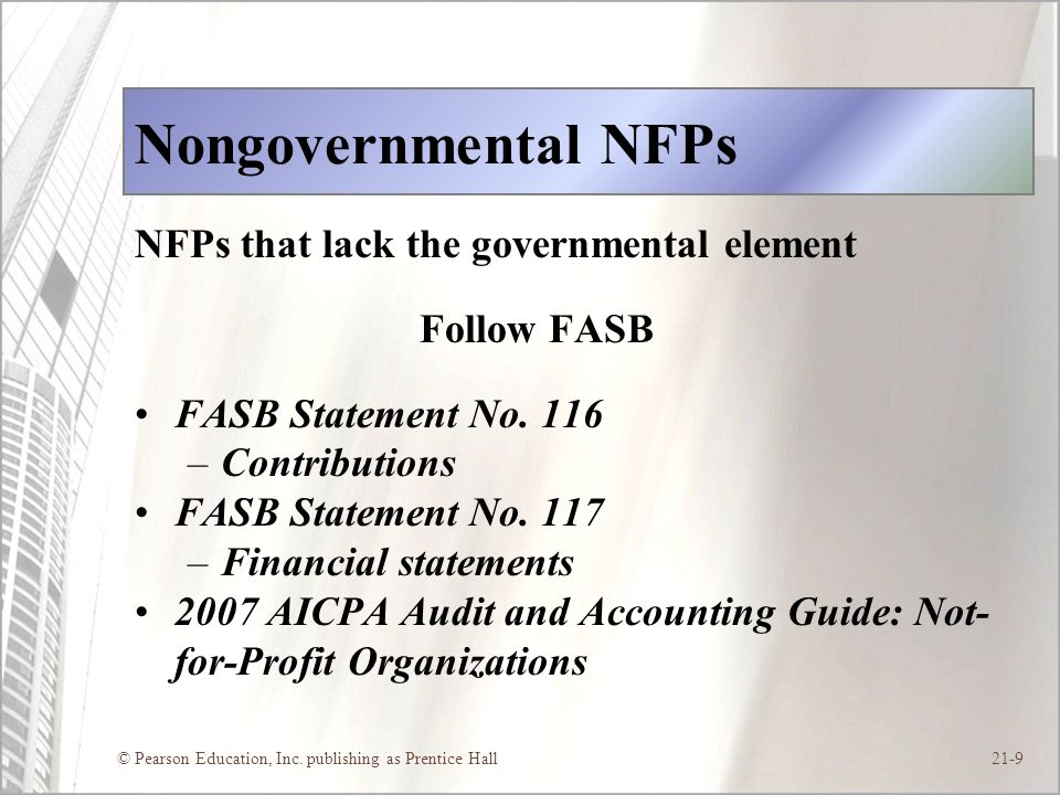 Nongovernmental NFPs NFPs that lack the governmental element