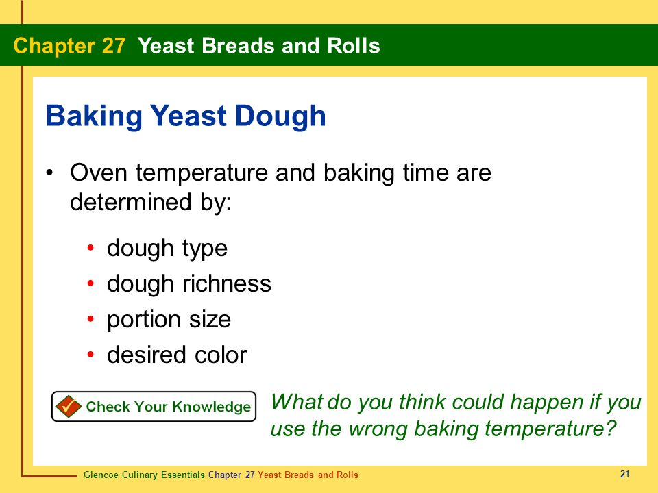 Baking Yeast Dough Oven temperature and baking time are determined by: