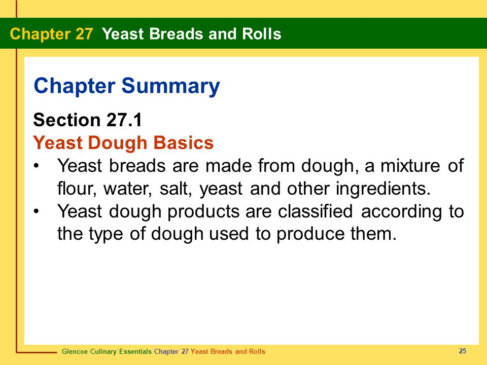 Chapter Summary Section 27.1 Yeast Dough Basics