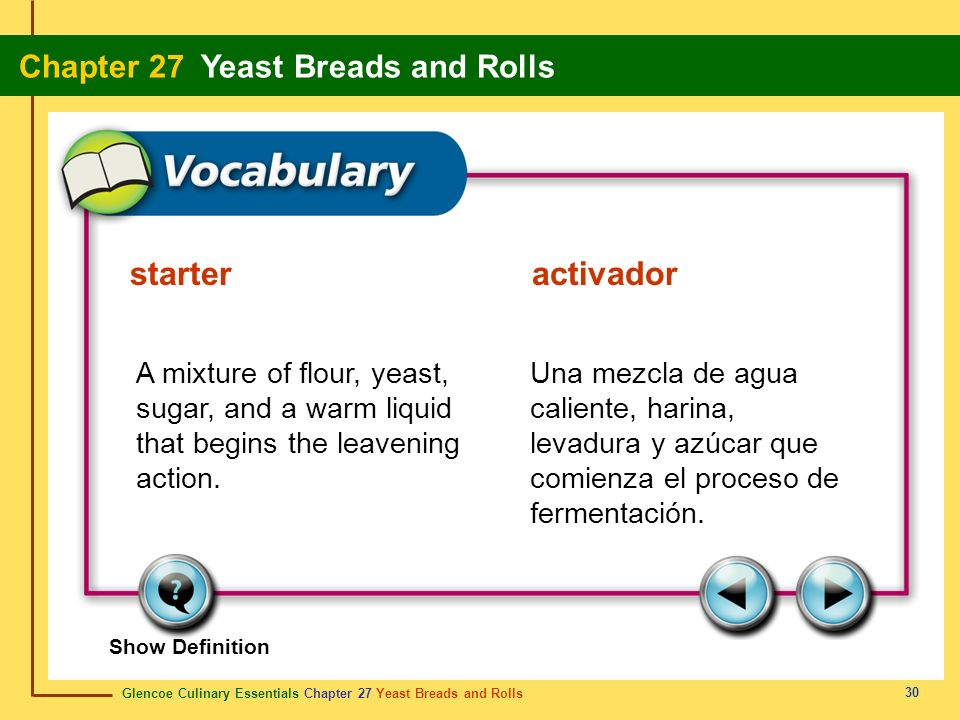 starter activador A mixture of flour, yeast, sugar, and a warm liquid that begins the leavening action.