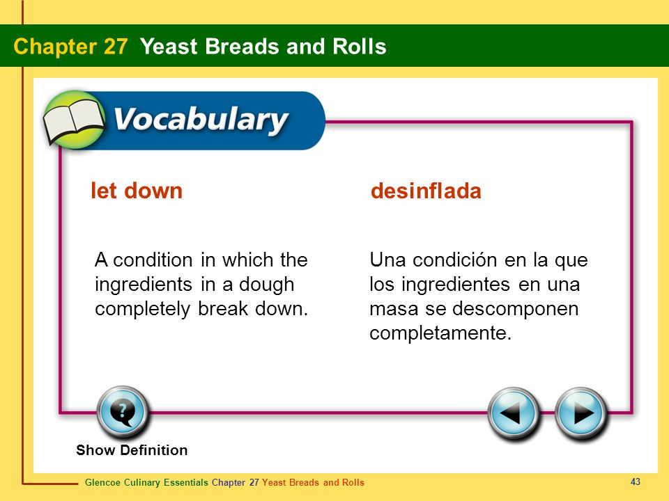 let down desinfladaA condition in which the ingredients in a dough completely break down.