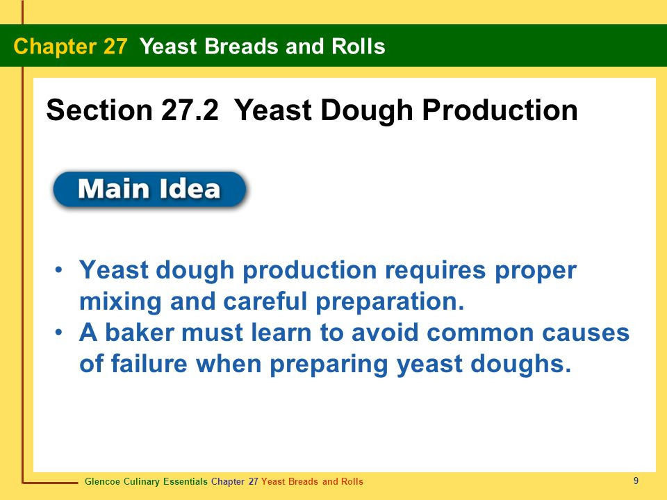 Section 27.2 Yeast Dough Production