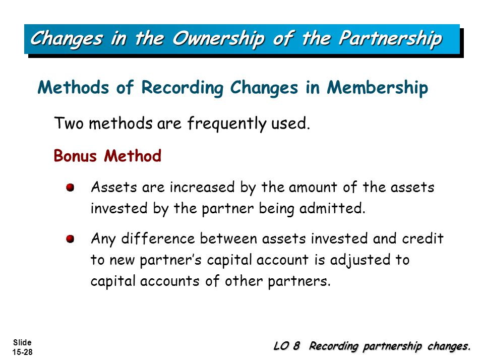 Changes in the Ownership of the Partnership