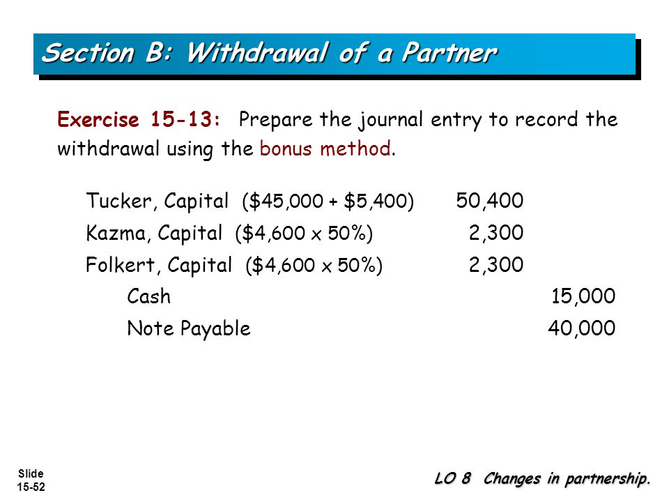 Section B: Withdrawal of a Partner