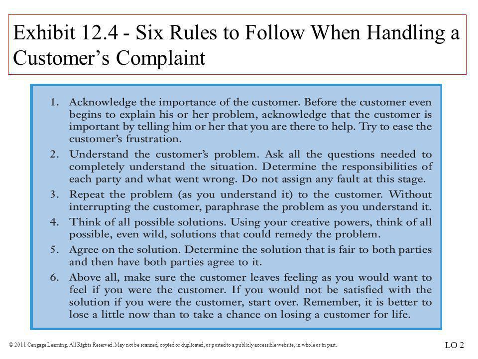 Exhibit 12.4 - Six Rules to Follow When Handling a Customer's Complaint