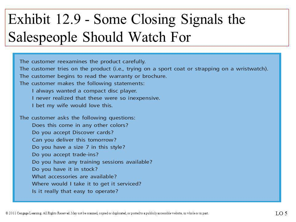 Exhibit 12.9 - Some Closing Signals the Salespeople Should Watch For