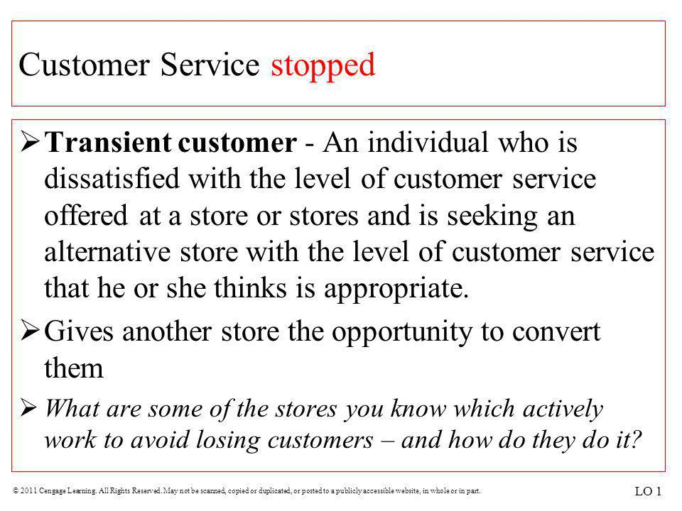 Customer Service stopped