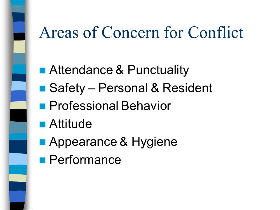 Areas of Concern for Conflict