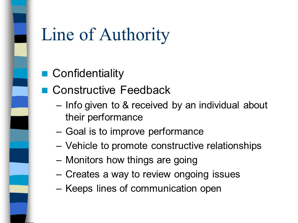 Line of Authority Confidentiality Constructive Feedback