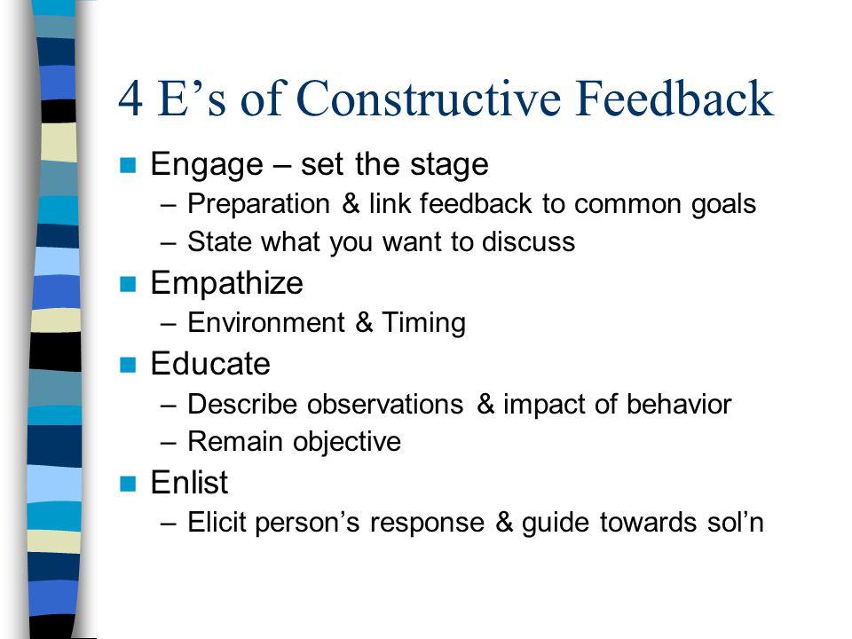 4 E's of Constructive Feedback