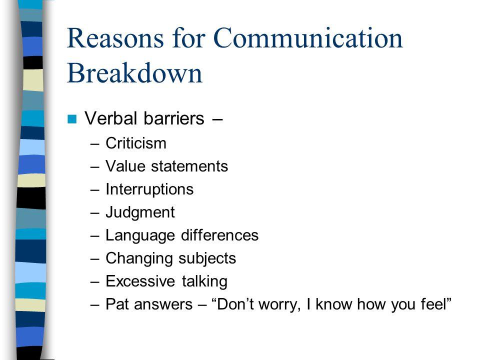 Reasons for Communication Breakdown