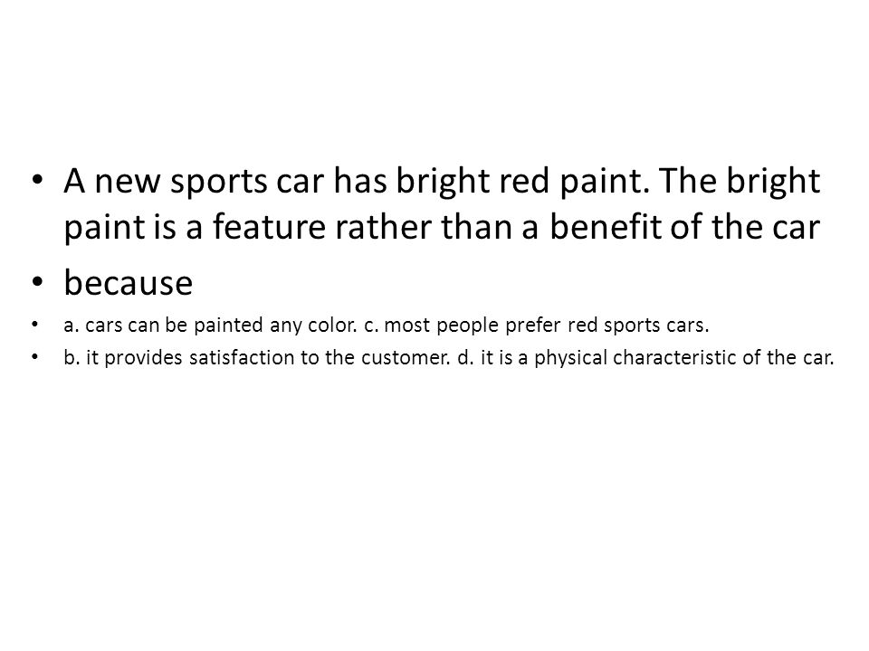 A new sports car has bright red paint