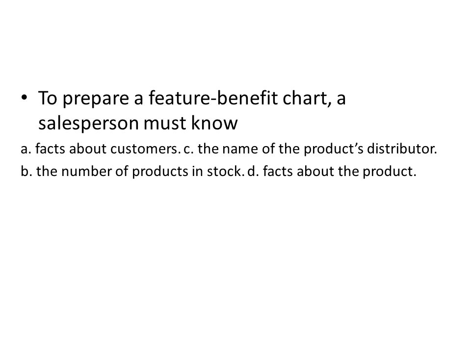 To prepare a feature-benefit chart, a salesperson must know