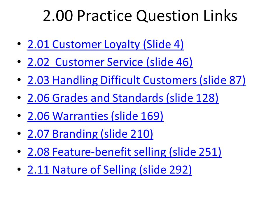 2.00 Practice Question Links