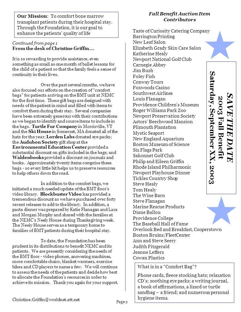 Fall Benefit Auction Item Contributors