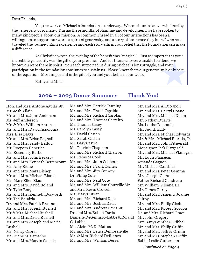 2002 – 2003 Donor Summary Thank You!