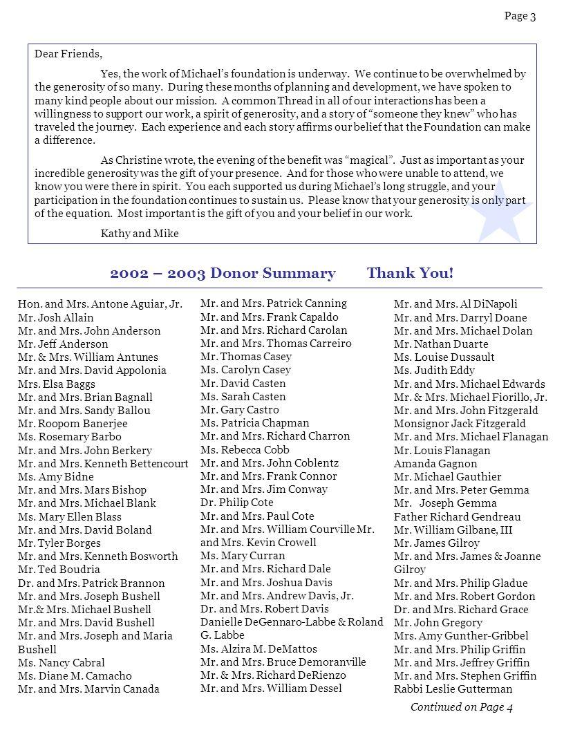 2002 – 2003 Donor Summary Thank You!