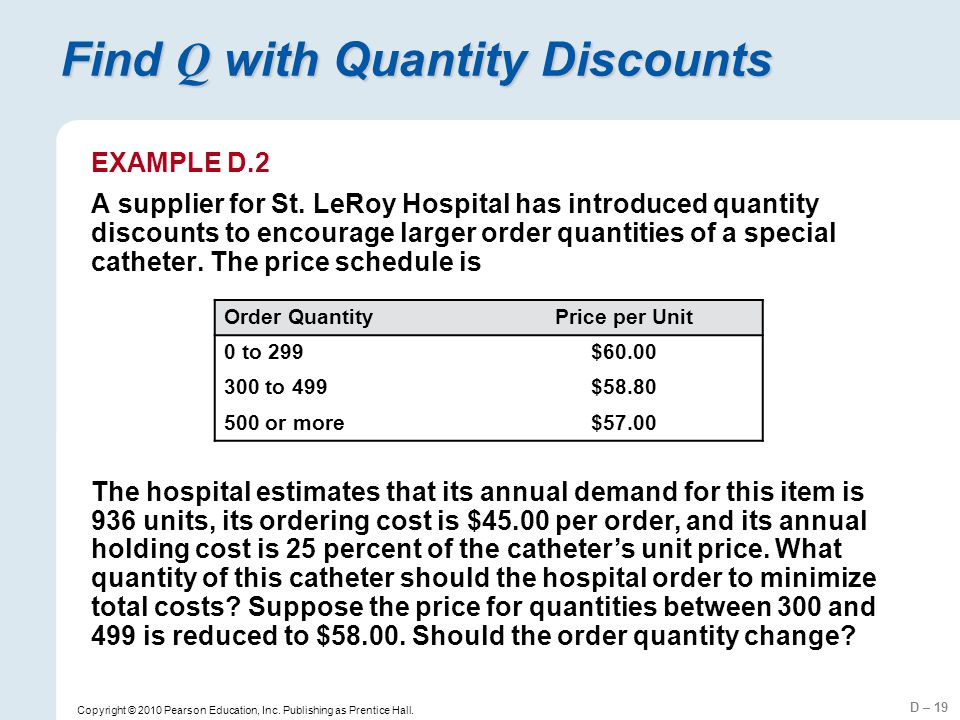 Find Q with Quantity Discounts