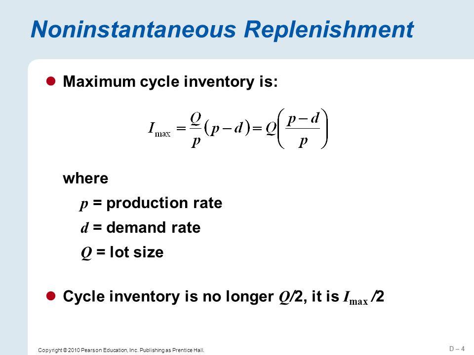 Noninstantaneous Replenishment
