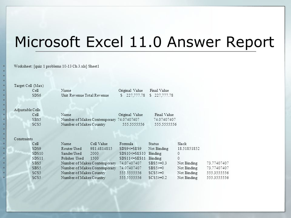 Microsoft Excel 11.0 Answer Report