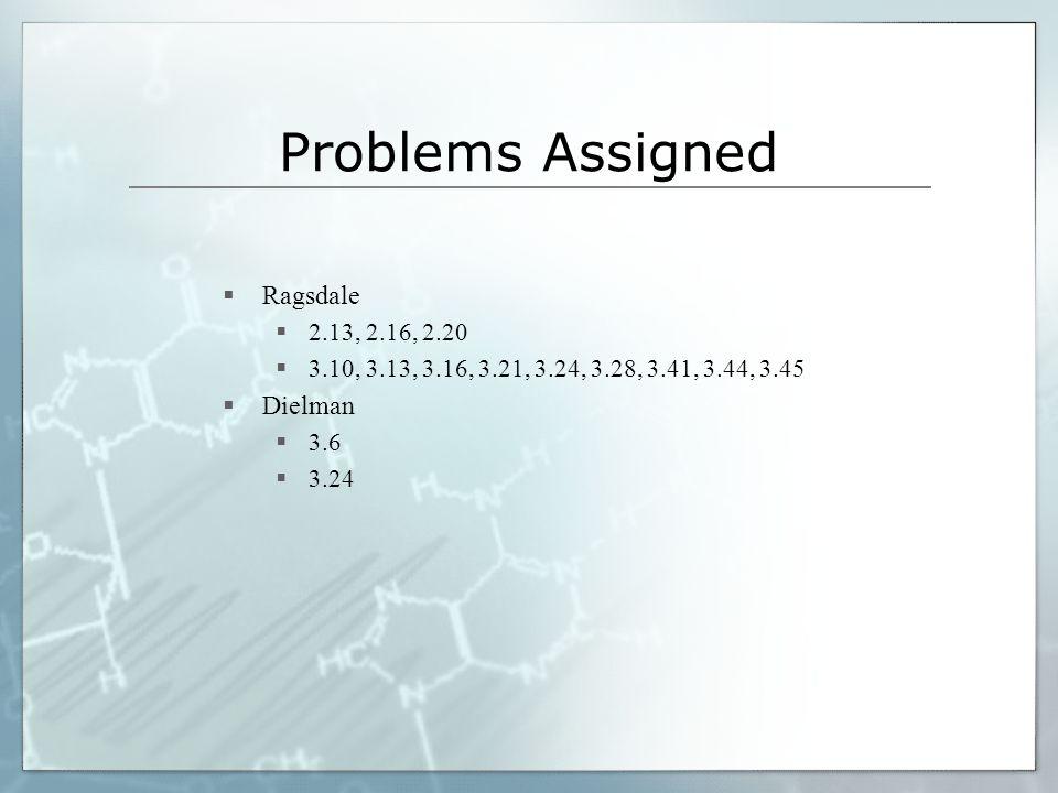 Problems Assigned Ragsdale Dielman 2.13, 2.16, 2.20