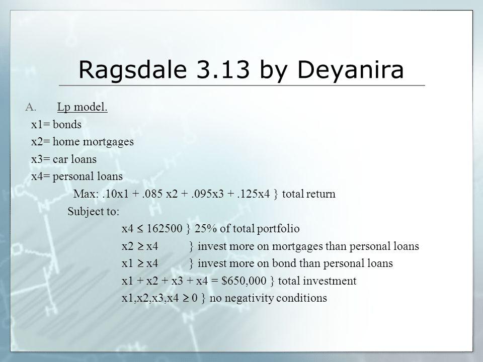 Ragsdale 3.13 by Deyanira Lp model. x1= bonds x2= home mortgages