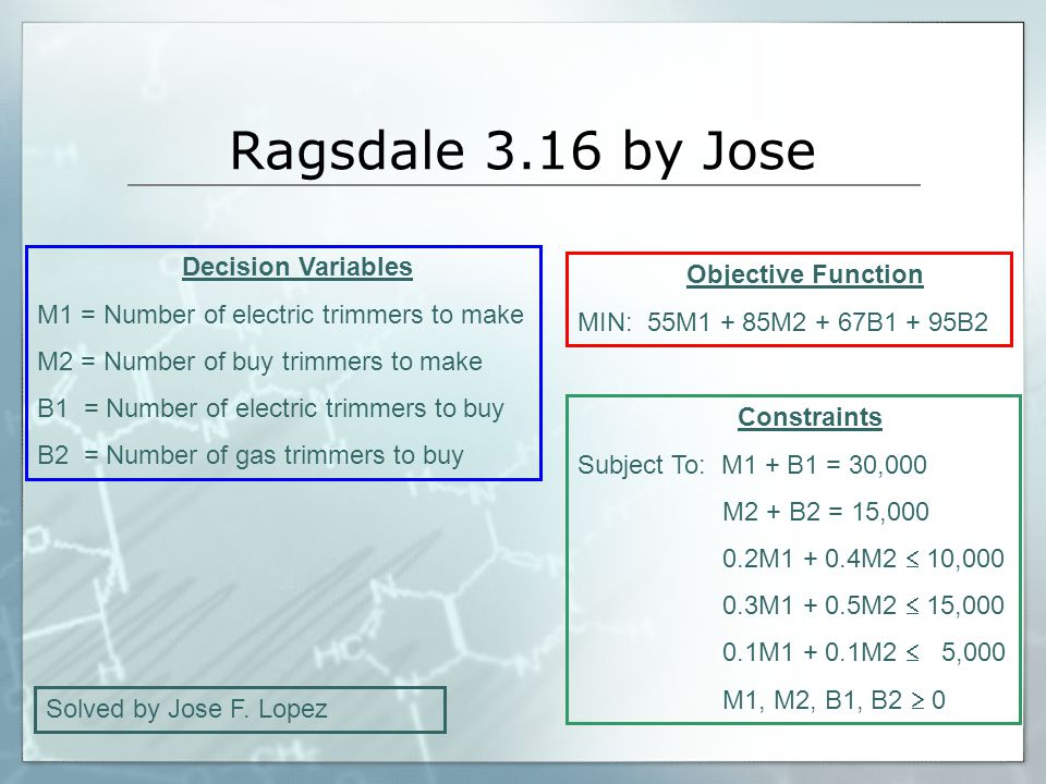 Ragsdale 3.16 by Jose Decision Variables Objective Function