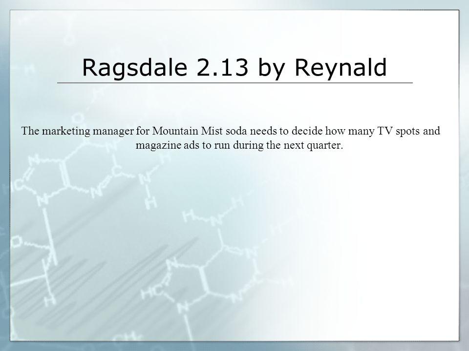 Ragsdale 2.13 by Reynald